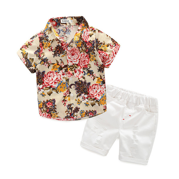 Kids clothing summer sets full flower print turn down T shirt + short sets summer kids boy clothing sets B11