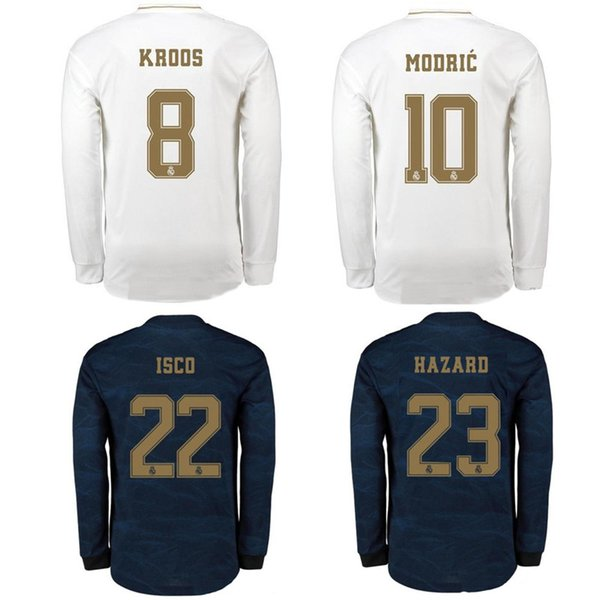 Top 19 20 real madrid long sleeve soccer jerseys ASENSIO MODRIC football shirt 2019 2020 BENZEMA ISCO jersey HAZARD camisas de futebol