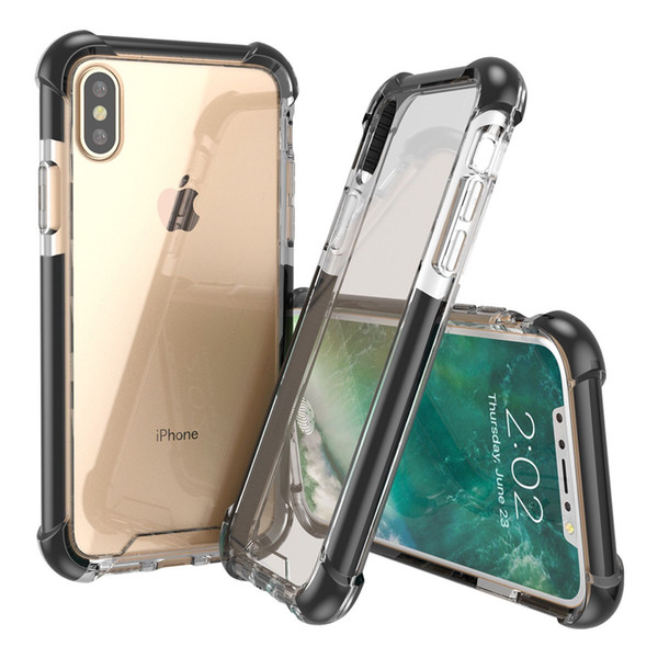 FASHION Four corners thickened super anti-falling iphone case glass acrylic plus TPU 3 in 1 cell phone case iphone x xs xr xsmax