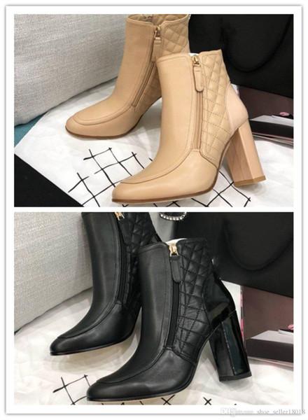 Outono precoce show new Top vamp couro macio forro de pele de carneiro respirável importações de couro sola botas de salto alto das mulheres ankle boots