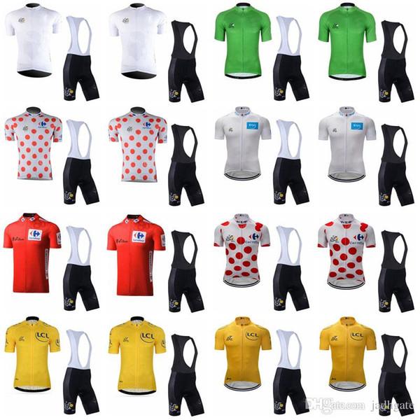 TOUR DE FRANCE equipe Ciclismo Mangas Curtas jersey (babador) conjuntos de shorts pro equipe primavera verão Ciclismo Jersey kits D1411