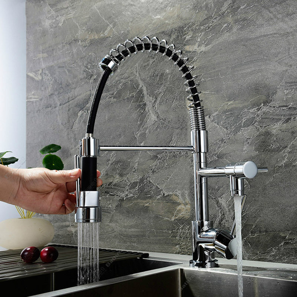 Brass Chrome Plated Pull Out Kitchen Faucet Single Hole Deck Mounted Hot & Cold Sink Mixer Double Function Two Water Tap