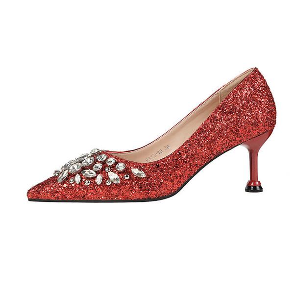 2019 Frühjahr und Herbst neue koreanische Version der spitzen Pailletten Stiletto High Heel Damenschuhe rot 0510