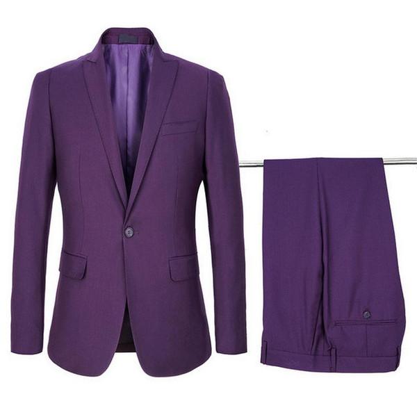 Erkekler Örgün Damat Parti Mor Erkek için 2020 Düğün Suit Terno Slim Fit Smokin Blazer Groomsmen Damat 2 Adet Suits
