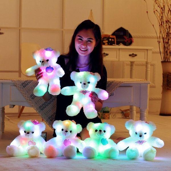 38cm Led Night Light Luminious Kids Toy Flashing Teddy Bear Staffed Gleamy Animal Doll Children's Love Shinning Birthday Gift Q190521
