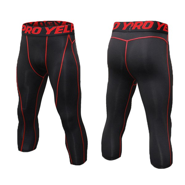 top popular Men's Compression Pants 3 4 Capri Shorts Baselayer Sports Tights Male Sport Running Cycling Fitness Leggings Outdoor Sportswear 2019