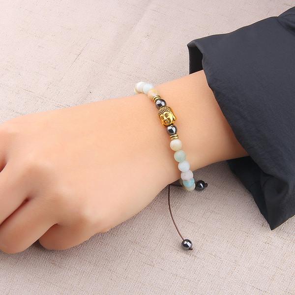 Vinswet Armband Amazon Naturstein Perlen Armband Buddha Perle Charme geflochten für Frauen Glück Geschenke Schmuck Groß