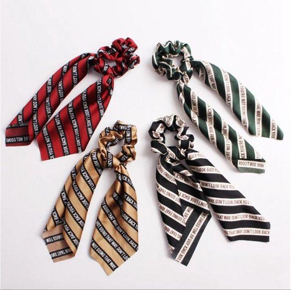 Hair Scrunchies Bands Streamer Accessories Women Girl Ponytail Holder Elastic Ropes Ribbon Scrunchie Hair Ties bobbles Headwear 50pcs F307A