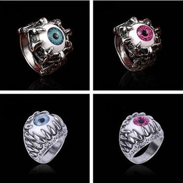 Bijoux vintage européens et américains anneau de crâne alliage anneau oeil du diable fit hommes et femmes bijoux 10 Pcs / lot