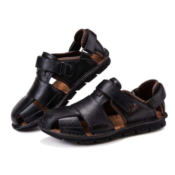 ABDB-натуральная кожа летняя обувь мужчины сандалии мода Повседневная обувь мужской сандалии пляж мягкое дно дышащий мужчины Slipp #8211