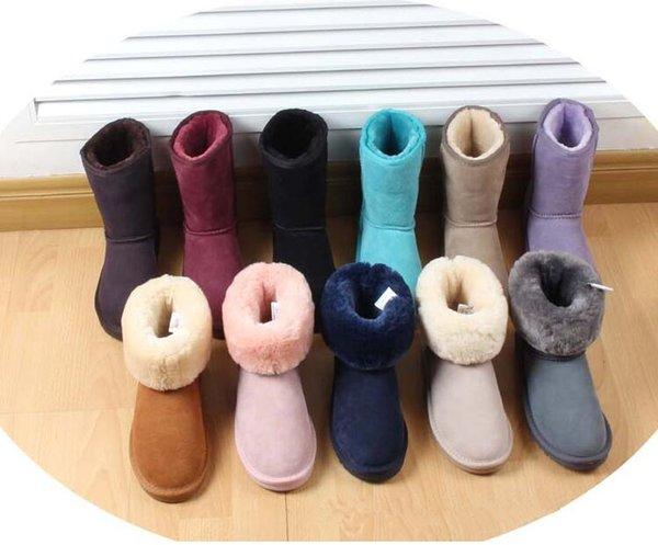 Классический дизайнер Mens Женщины обуви полусапожки зимние снега загрузки клинья Lady Открытый Водонепроницаемый австралийский Стиль воловьей кожи Теплые ботинки