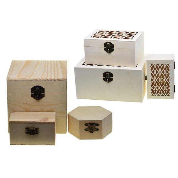 6 stücke Natürliche Unfinished Holz Holz Schmuck Geschenk Box Aufbewahrungskoffer Organizer für DIY Malerei Handwerk mit Deckel und Sperre