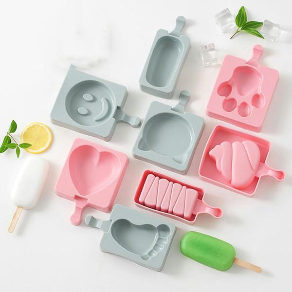 Dos desenhos animados diy molde de sorvete de gelo picolé moldes picolé titular congelador molde de gelo com picolé varas ferramentas da cozinha
