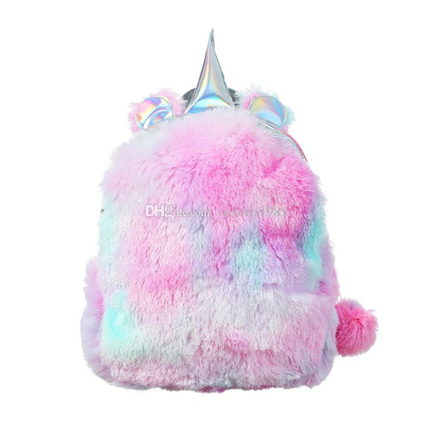 New winter Rainbow Unicorn Sequin Backpack Toddler Kids gift Cute School Bag Silver Gradient Plush fluffy Glitter Bag for Baby Girls