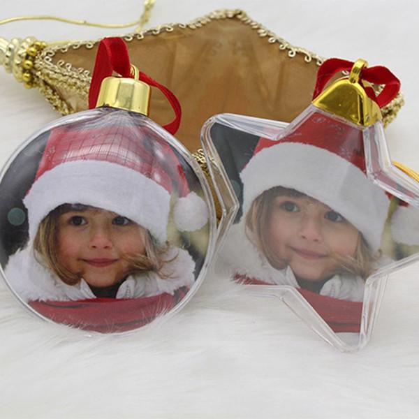 Noël Transparent En Plastique Photo Cinq Étoiles Boule Décorations De Noël Arbre De Noël Décor Suspendu Pour La Maison De Bricolage Enfants Cadeaux