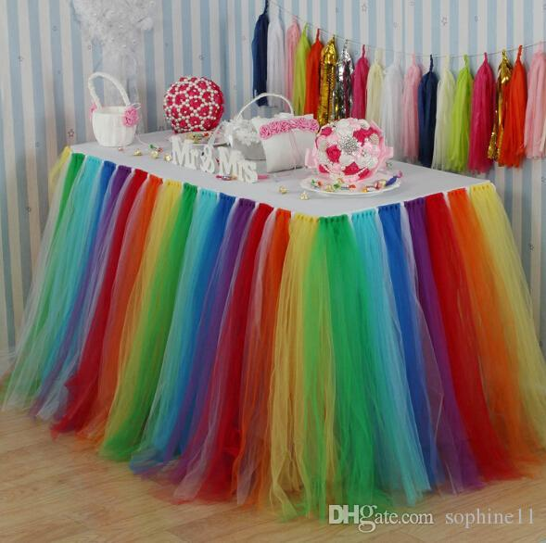 Table arc-en-Tulle Jupe coloré Table ronde Jupe Faveurs de mariage Party baby shower Décoration de mariage Connexion Jupe de table Accueil Textile