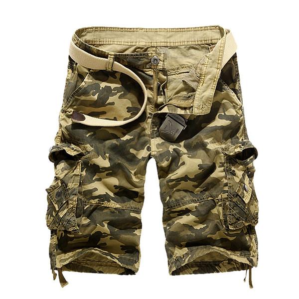 2019 Summer Khaki Camouflage Cargo Shorts Men Loose Short Trousers Bottoms Men's Military Short Pants Casual Man 29-40 No Belt J190509