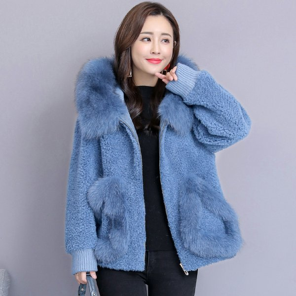 2018 winter fashion short paragraph fox fur collar coat sheep shearing wool coats Jackets plus size Patchwork Fur Overcoat S~3XL