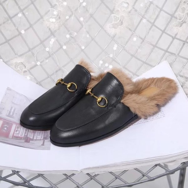 princetown slippers woman genuine leather flat base slipper lady rabbit hair mules shoes warm slippers at home lazy fur slippers man unisex, Black