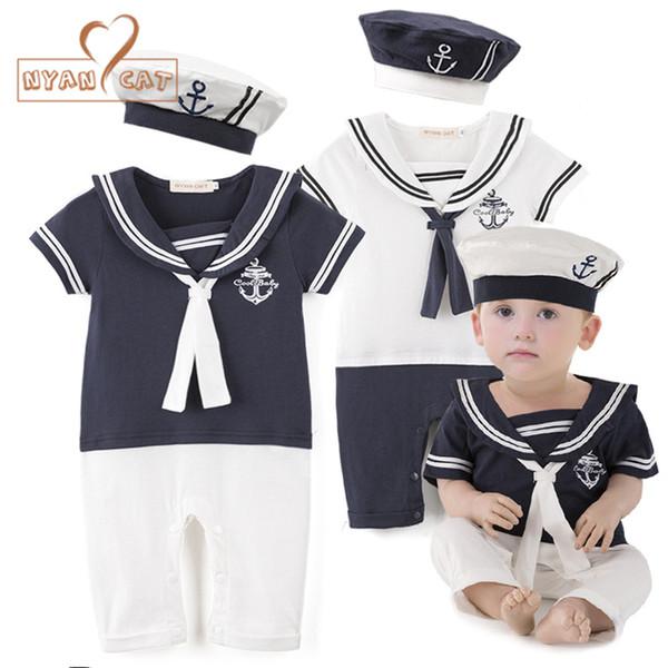 Nyan Katze Baby Boy Baumwolle Outfit Sailor Navy Style Hut + Strampler Kurzarm 2er Set Overall Infantil Sommer Geburtstag Kleidung J190524