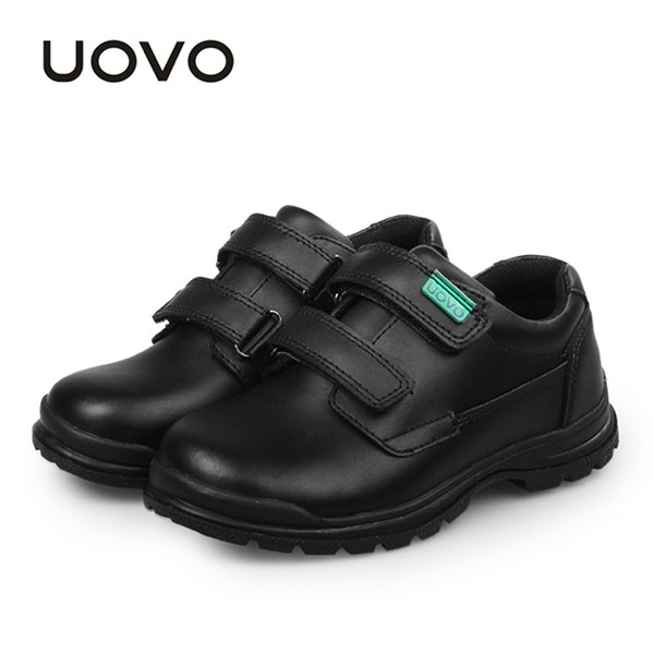UOVO Children Shoes 2019 Spring And Autumn Black Genuine Leather Shoes School Students Kids Casual For Boys #30-37