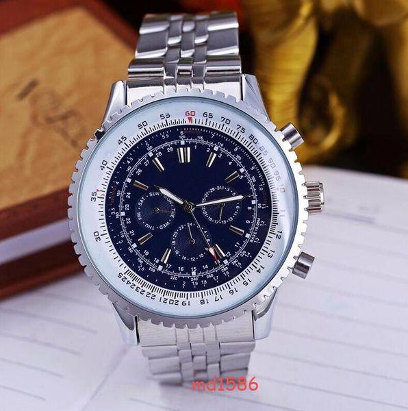 Acero inoxidable de moda superior Tres ojos y seis agujas Reloj de movimiento para hombre Relojes de pulsera blancos Relojes de marca impermeables para hombres