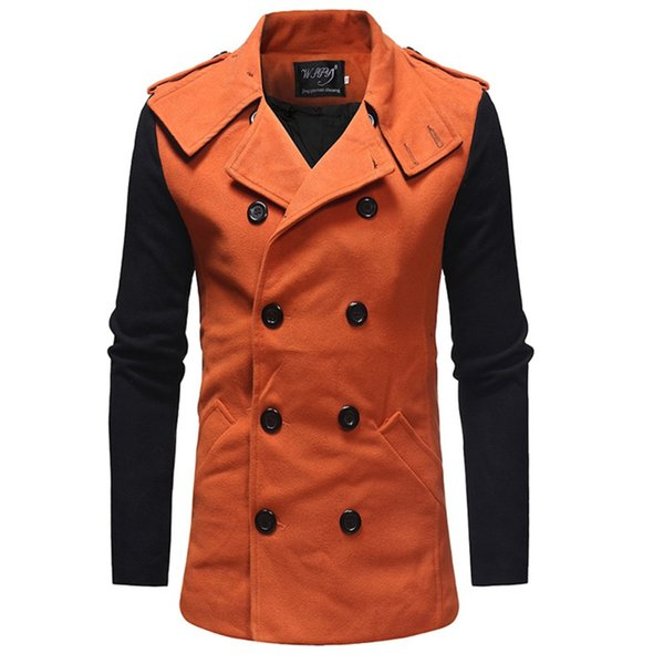 Brand Cheap Winter Long Trench Coat Men Good Guality Double Breasted Wool Blend Overcoat para