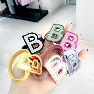 20190823 Colour big letter AB tied hair, leather band, mirror hairpin