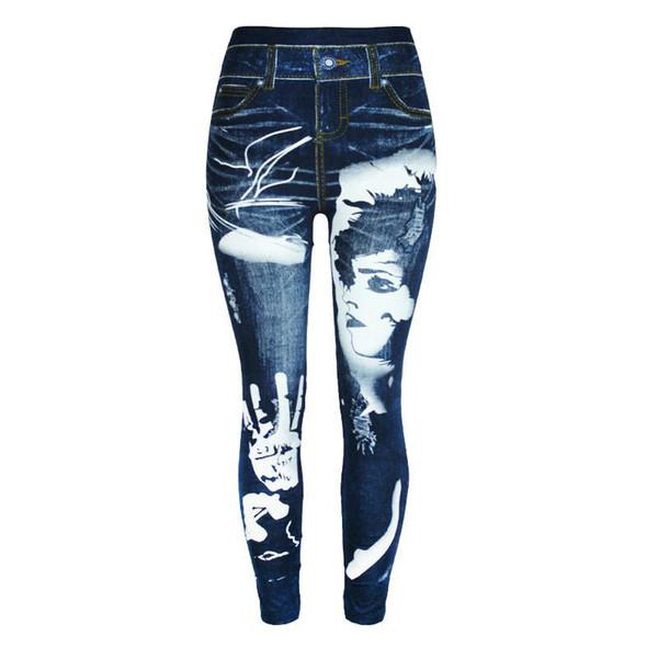 Sıcak Tayt Kadın Dokuz Denim Pantolon Sıska Yüksek Waisted İmitasyon Jeans Slim fit Streç Dikişsiz Tayt