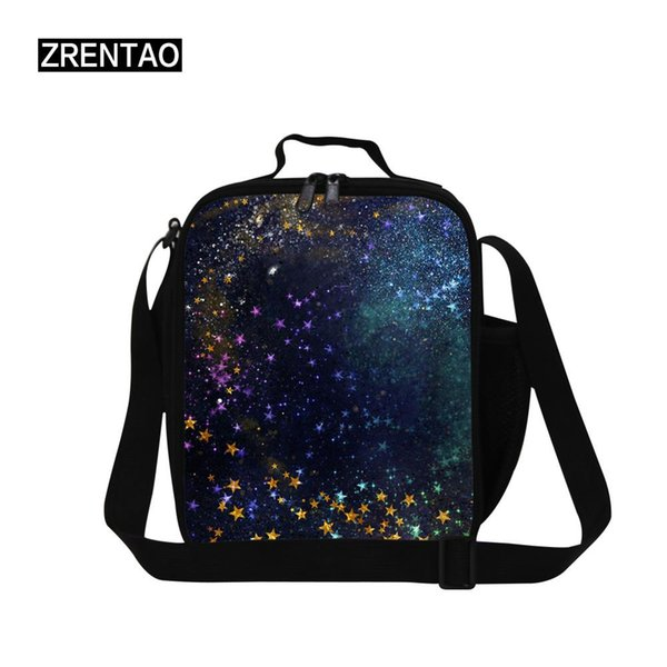Black/Blue Universe Outer Space Insulated Lunch Cooler Bag Bento Box Container Bag With Strap Water Bottle Holder For Child