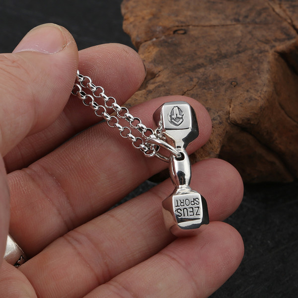 1Pcs New Fashion 925 Sterling Silver Pendant dumbbell Men Silver Pendant Fitness Personality Decoration Male Jewelry 2019