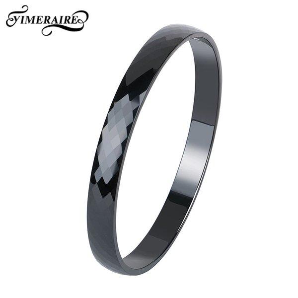 Klassische Schwarze Keramik Armband Schnittfläche Für Frauen Männer Modeschmuck Einfaches Design Glatte Hochzeit Armreifen Geschenke