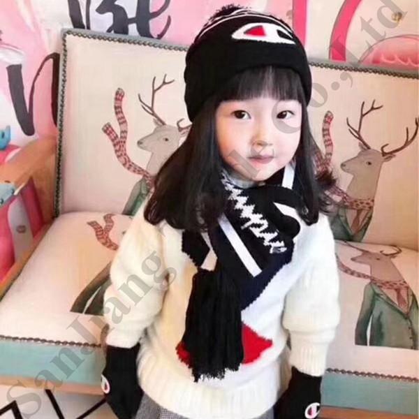 3Pcs/Set Children Hat Scarf Gloves Set Champion Designer Scarves Suit Baby Kids Winter Warm Knitting Beanies Caps Glove Scarfs Sets C92002