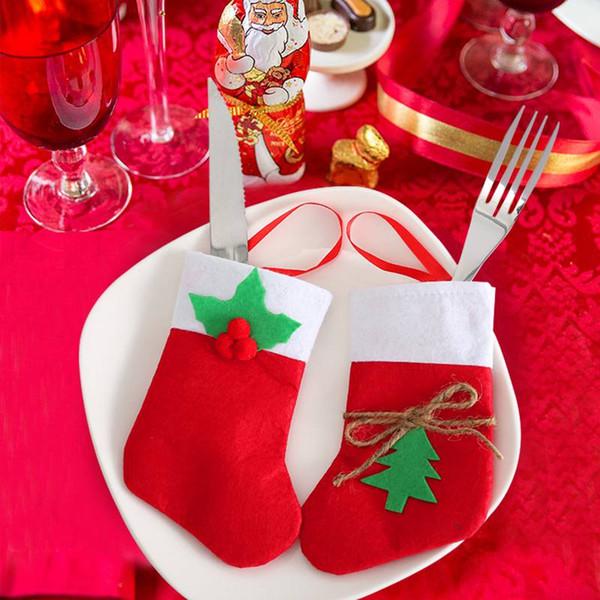 Weihnachtsdekoration Strumpf Geschirr Messer Gabelhalter Sack Besteck Weihnachten Taschen Tasche Küchentisch Für Home Party 2019