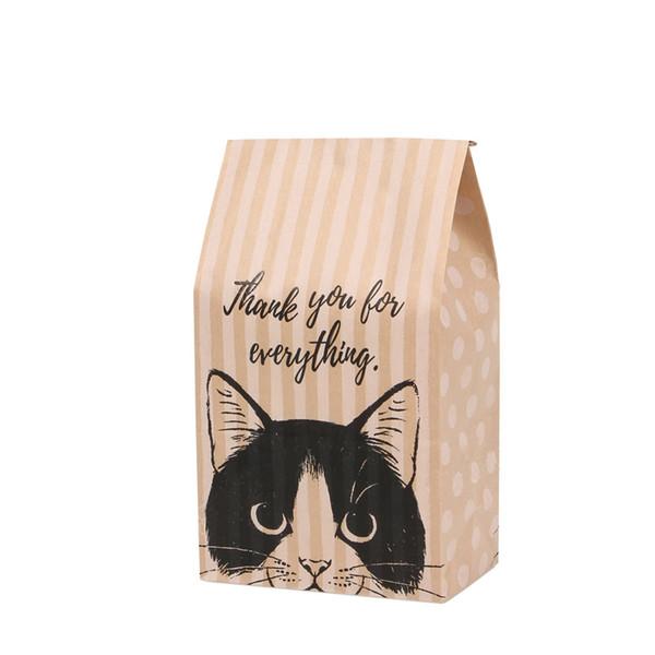 bolsa de regalo de papel kraft galletas de caramelo bolsas de papel kraft embalaje de regalo Boda en casa Fiesta de cumpleaños envoltura de cumpleaños patrón de gato papel de regalo