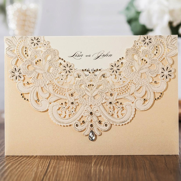 Wishmade Laser Cut Wedding Invitation Cards With RSVP Card & Thank You Card Champagne Gold and Blue, Customizable,Free Shipping