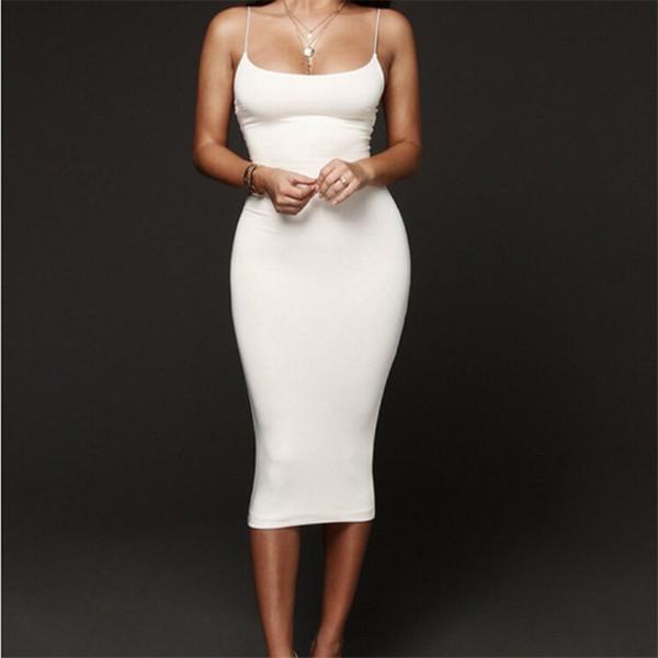 Seksi Kadınlar Elbise Yaz Elbise 2019 Günlük Sıkı Kokteyl Parti Elbise Katı Renk Halter Kolsuz BODYCON Elbiseler Sundress