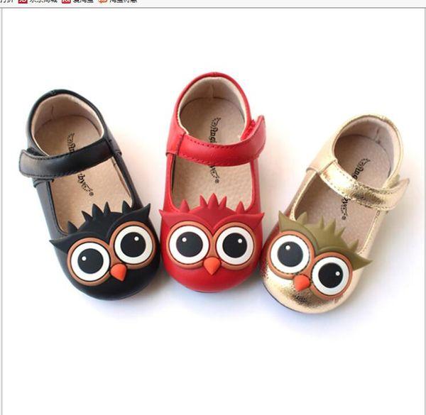 2019 filles'Shoes été nouvelle chaussures en cuir surface douce hibou belle tête ronde