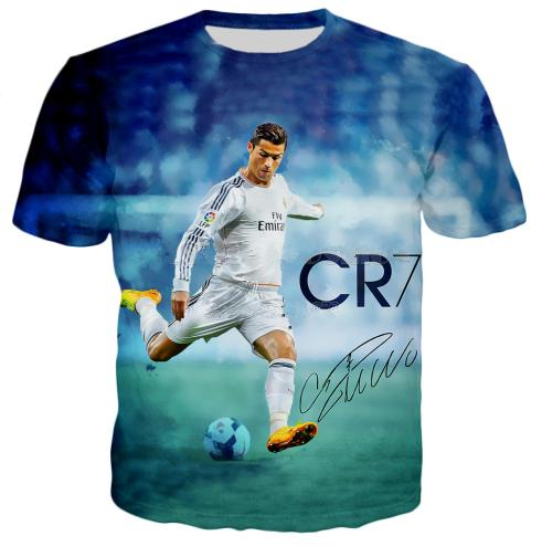 Newest Hot Fashion Funny Cristiano Ronaldo T-shirt Women Men Summer Unisex 3d Print Short Sleeve Crewneck Casual Tops Hip Hop Style Q589