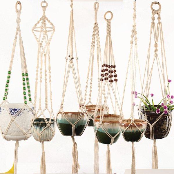 Вешалка для цветов 100% ручной работы вешалка для цветов макраме для сада и огорода