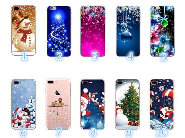 Nuovo guscio del telefono cellulare per il regalo di fiocco di neve di Natale anziano alce morbido TPU per il telefono cellulare per iPhone X XR XSMAX