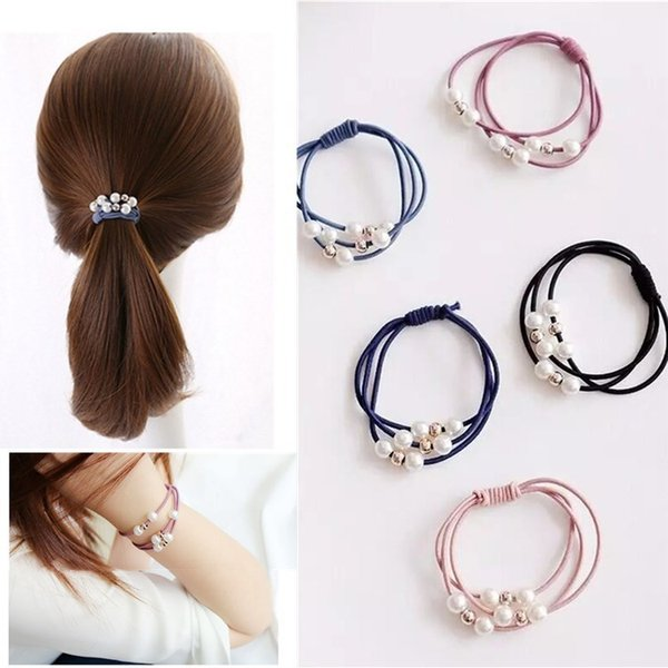 Hair Accessories Pearl Elastic Rubber Bands Ring Headwear Girl Elastic Hair Band Ponytail Holder Scrunchy Rope Hair Jewelry
