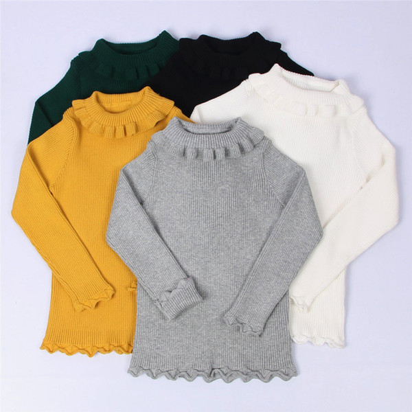 Baby Girls Ribbed Sweater 2019 Girls Sweaters Solid Candy Color Sweaters Autumn New Knitted Kids Clothing Girls Pullover 1-5Y