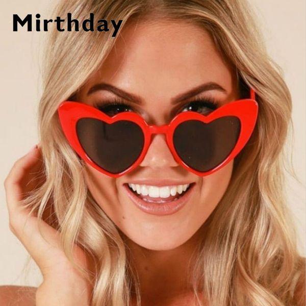 Love Heart Sunglasses Women Cute Sexy Female Retro Cat Eye Sun Glasses Vintage 90s Pink Glasses Red Flash Eyewear