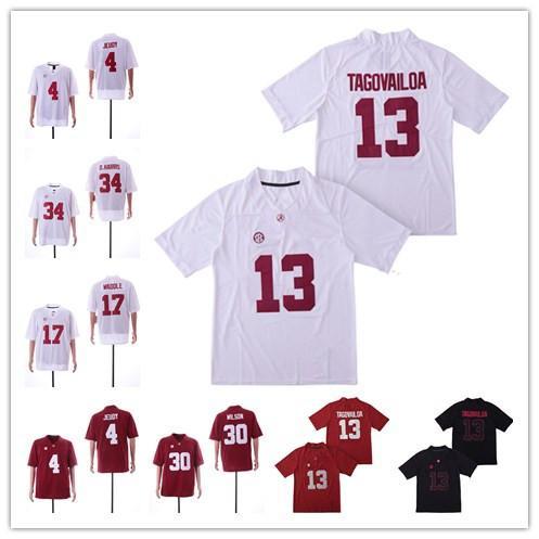 NCAA Alabama Crimson Tide # 13 Туа Таговайлоа 4 Джерри Джеуди 34 Д.Харрис 30 Мак Уилсон 17 Джайлен Уоддл Футбольные майки
