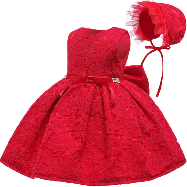 Infant Lace Party Dress Hat Newborn Bebes 1 Years Little Girl Dress For Baby Birthday Outfits Baptism New Year Christmas Wear Y19061101