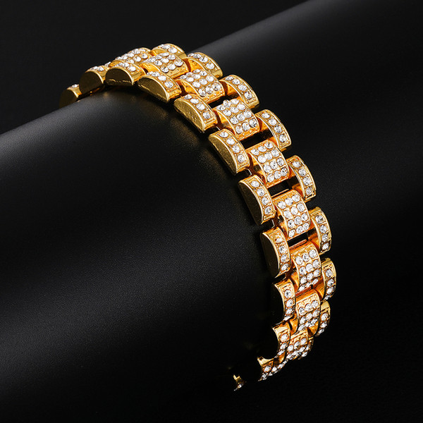 Hip Hop Iced Out Bling Gold Silver Full Crystal Rhinestones Watch Band Link Chain Bracelets Bangles For Men Rapper Jewelry