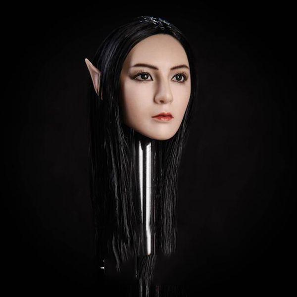 "Collectible 1/6 Scale Elf Girl Head Carved Black/Blond Hair Detachable Ears Female Head Model For 12"" pale/Suntan Figure Body"