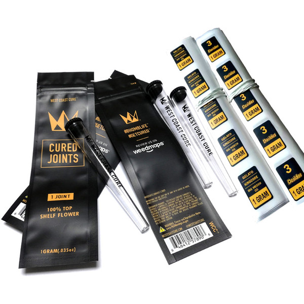 top popular West Coast Cure 3PCS 1PC CURED JOINTS BAG +PLASTIC TUBE Packaging moonrock Preroll Pre-rolled tube Package joint DHL Free 2020