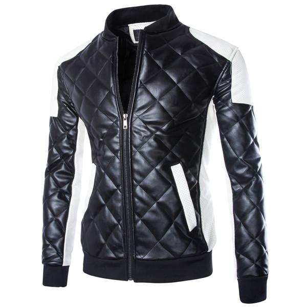 Новые мужские мотоциклетные куртки Черно-белый повседневный воротник шить кожаная куртка пальто ватник Пальто Парка Мужчины зимние пальто M-5XL
